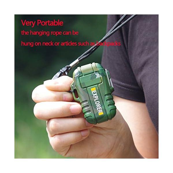 SANShine - Mechero electrónico de Doble Arco con batería de Plasma Recargable, Resistente al Viento, Impermeable y… 3