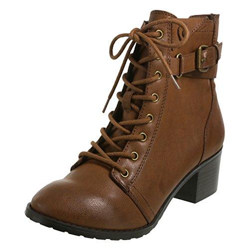 Brash Womens Thrasher Combat Boot Cognac