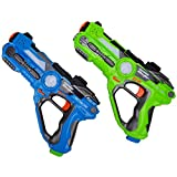Laser Tag Blaster Toy Set - Wishtime Multiplayer Battle Shooting Game Active Toy Gun Blaster Feature Laser Tag Set for Kids Boys Adults Families 2 Pack