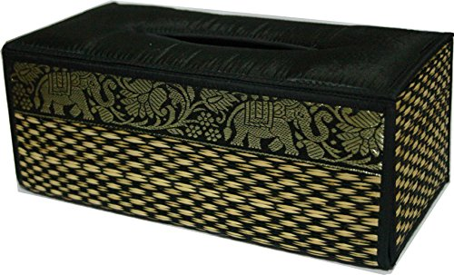 TOPMOST N-9010, Handmade Thai Woven Straw Reed Rectangular Tissue Box Cover with Silk Elephant Design 5x3.7x10.2 Inch by Topmost