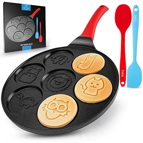 Zulay Pancake Pan With 7 Animal Face Designs – Round Ceramic Pancake Pan Nonstick Surface & Comfortable Handle – Mini…