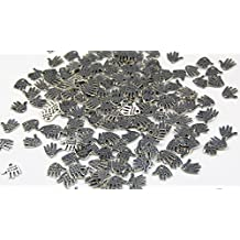 """One Pack of 160 DIY Hand-Shaped """"Hand Made"""" Carved Silver Tone For Charms,Pendants,Crafting,Sewing"""