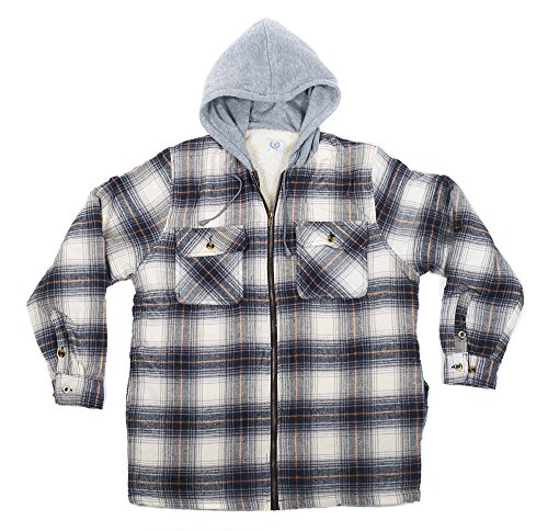 North 15 men 39 s flannel shirt sherpa lined flannel hood for Zip front flannel shirt