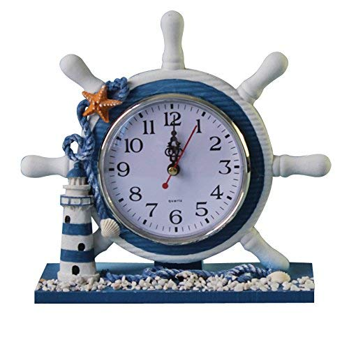 KODORIA Wheel Wall Clock Decoration Nautical Anchor Boat Steering Wheel Time Clock Table Decor - Lighthouse