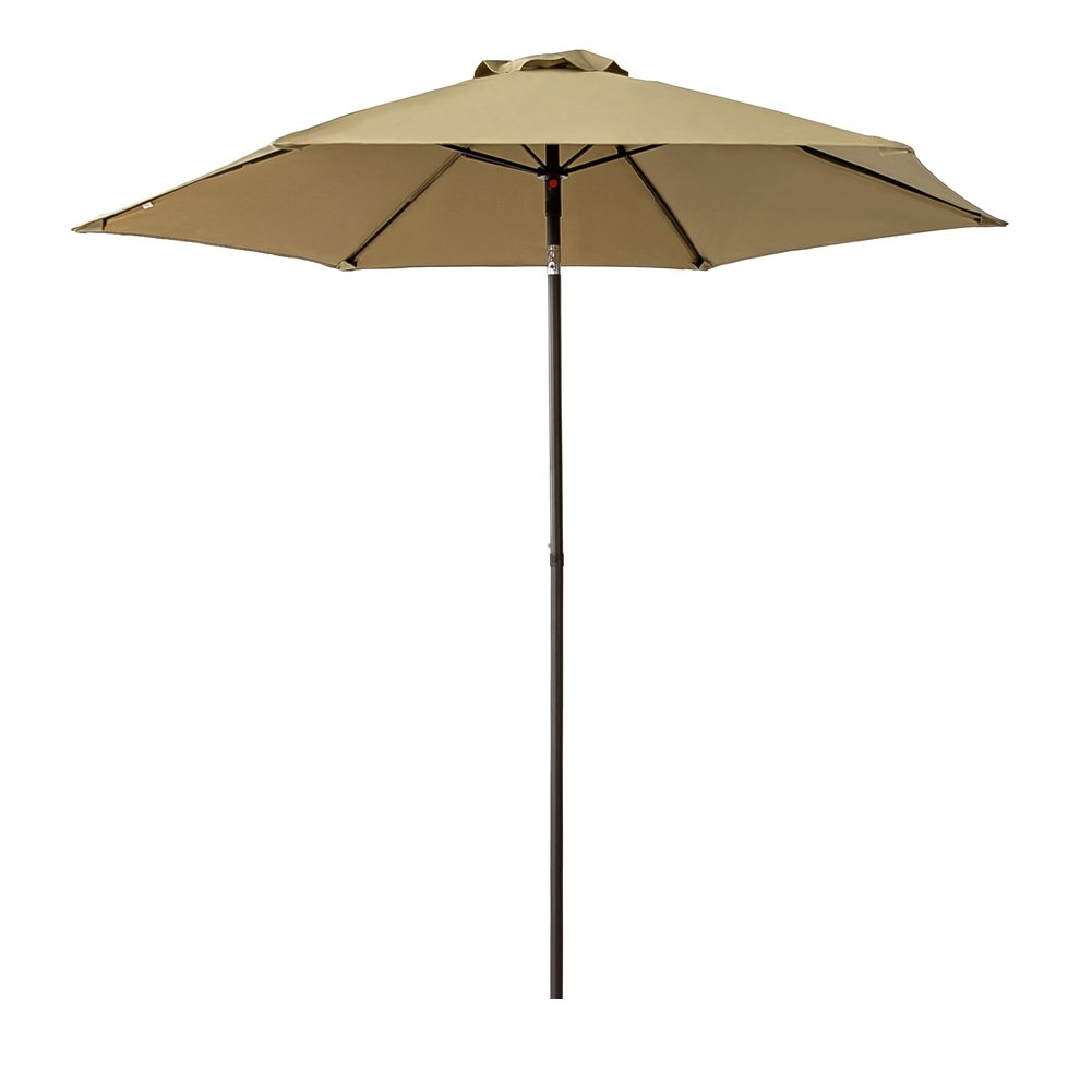 FLAME&SHADE 7.5 ft Small Outdoor Patio Table Umbrella Parasol with Push Button Tilt, Beige