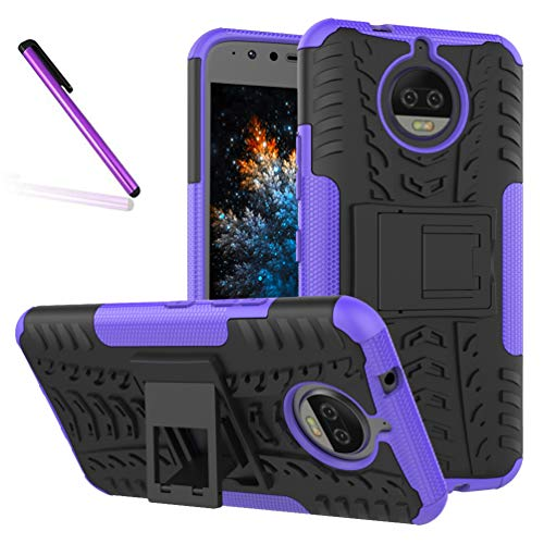 Pattern Tyre - Moto G5S Plus Case, Tyre Pattern Design Heavy Duty Tough Armor Extreme Protection Case Kickstand Shock Absorbing Detachable 2 in 1 Case Cover Motorola Moto G5S Plus (2017). Hyun Purple