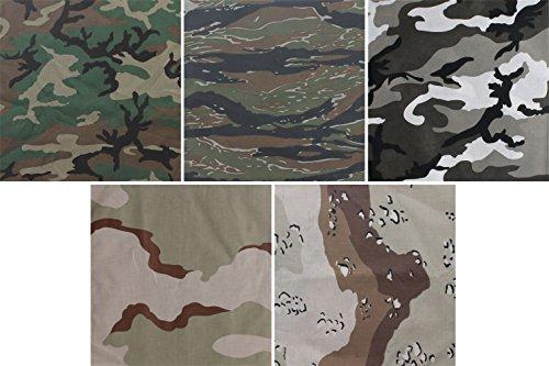 - 5 Pack - Jumbo Bandanas Camouflage Cotton Military Headwraps 27