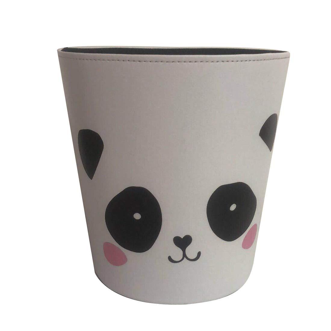 Mecotech Corbeille à Papiers Enfant - 10L Poubelle Enfant en Cuir PU Panda Motif - Décor de Chambre Bureau Cuisine Café - 27 x 25 x 20 cm