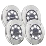 Disk Solar Lights, 8 LEDs Solar Ground Lighting Outdoor for Garden Yard Pathway Patio Driveway Pool Lawn Walkway in-Ground Light 4 Pack(White)