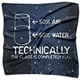 Technically The Glass Is Completely Womens Square Polyester Satin Neck Head Scarf Scarves Set