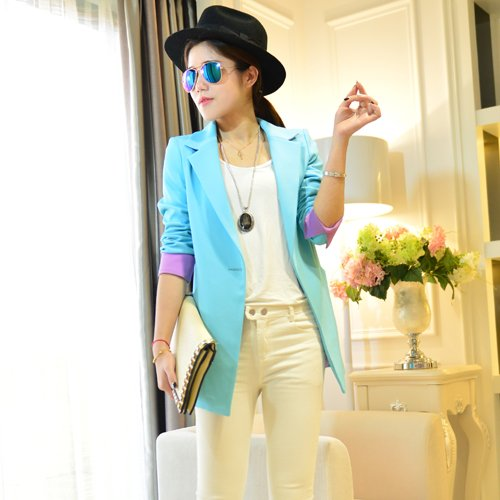WYMBS Spring New Korean stitching in Sau San long suit video thin spring and autumn jacket female suits ,s,blue (Korean Spring)
