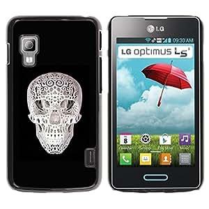 MobileHut / LG Optimus L5 II Dual E455 E460 / 3D Skull Print Black White Minimalist / Delgado Negro Plástico caso cubierta Shell Armor Funda Case Cover