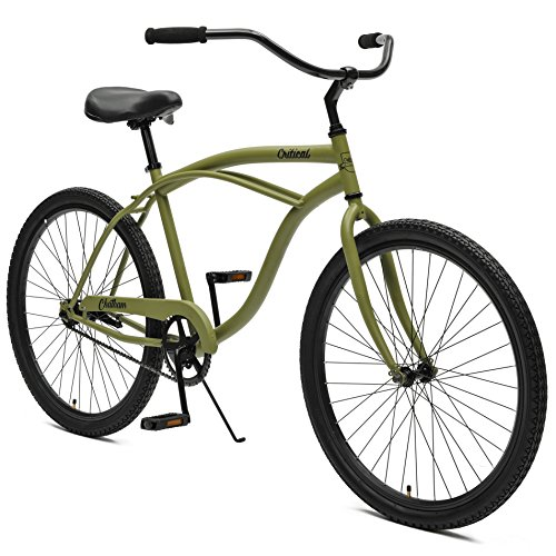 Critical Cycles By Westridge Chatham Mens Single Speed Beach Cruiser  18  One Size  Matte Military Green