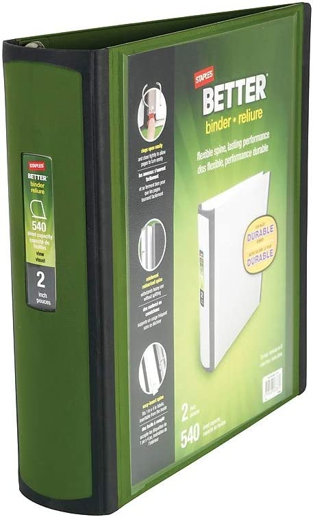 Staples Better Binder Olive 2 Inch