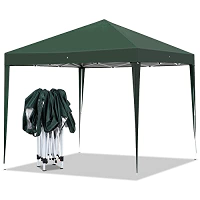Yaheetech Outdoor Pop-Up Canopy Tent Portable Shade Instant Folding Canopy with Carry Bag 10 x 10 ft Base, 10 x 10 ft Canopy Dark Green : Garden & Outdoor