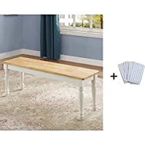 Better Homes and Gardens Autumn Lane Dining Bench, 1-Piece Dining Bench, White with Freebies