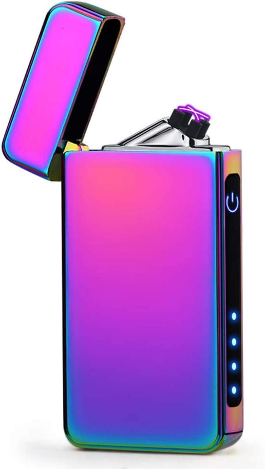 Plasma Lighter USB Rechargeable Dual Arc Electric Lighter Windproof Flamess Lighter (Purple)