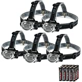 EverBrite 5-Pack LED Headlamp Flashlight for Running, Camping, Reading, Fishing, Hunting, Walking, Jogging - Headlamps Waterproof, Long Battery Life (Batteries Included), Durable, Lightweight
