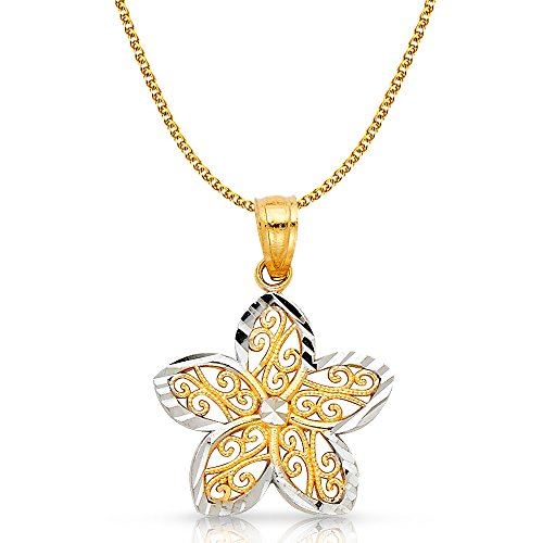 14K Two Tone Gold Fancy Star Flower Charm Pendant with 1.2mm Flat Open Wheat Chain Necklace - 18