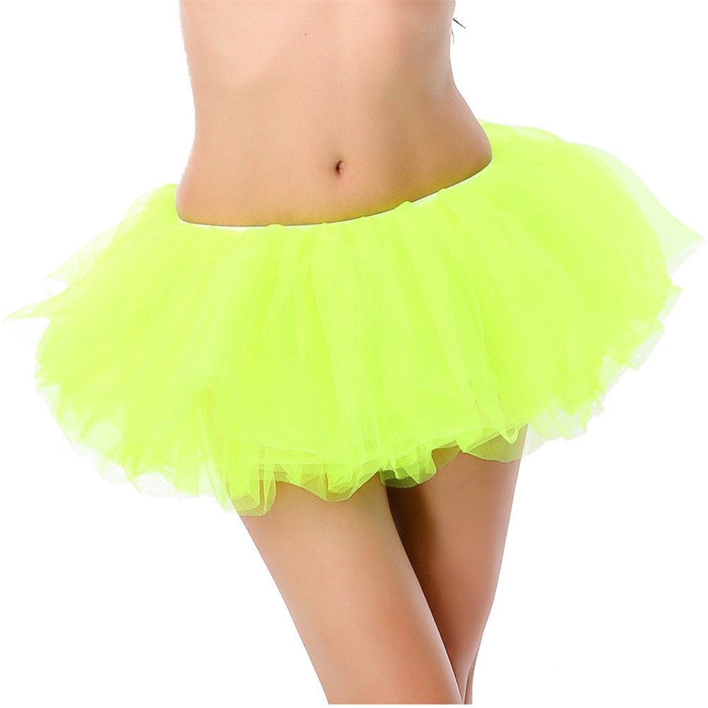 White Cloud Girls' Tutu Romantic Dance Mini Skirt Fluorescent Green