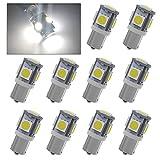 YINTATECH 10x BA9S 5050 5-SMD T11 Interior HID White LED Light Bulbs 53 57 182 257 1895 6253 64111 64113