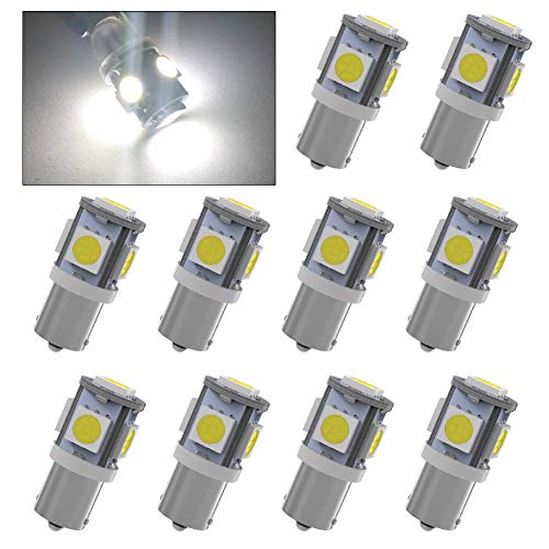 YINTATECH 10x BA9S 5050 5-SMD T11 Interior HID White LED light bulbs 53 57 182 257 1895 6253 64111 64113