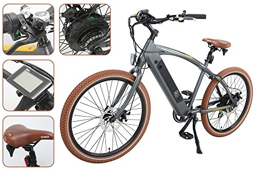 """Onway 26"""" 7 Speed Powers Assist Electric Bicycle Lithium Battery Motorized Ebike, 500w Powerful Bike Rear Motor, Hidden Lithium Battery, LED bike Light, Brown Tire for Beach Snow Riding"""