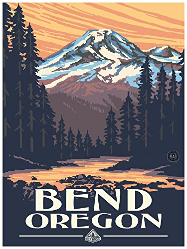 Bend Oregon Mountain Sunset Travel Art Print Poster by Paul A. Lanquist (18
