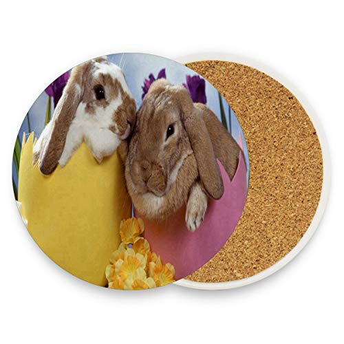 LoveBea Bunny Rabbits Coasters, Protect Your Furniture from Stains,Coffee, Cork Coasters Funny Housewarming Gift,Round Cup Mat Pad for Home, Kitchen Or Bar 1 Piece
