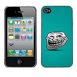Smartphone Rígido Protección única Imagen Carcasa Funda Tapa Skin Case Para Apple Iphone 4 / 4S Big Smile Cartoon Face Comic Character Teeth / STRONG