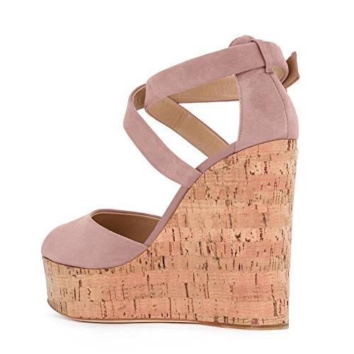 Damen Peep Toe Keilabsatz Criss Cross Fellsamt Sandalen High-Heels Schnalle mit Plateau Pink
