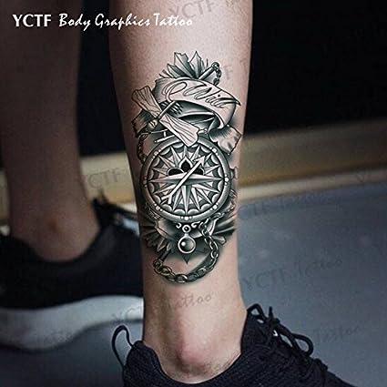 Oottati 2 Hojas Reloj Bolsillo Flor Brazo Tatuajes Temporales TF317