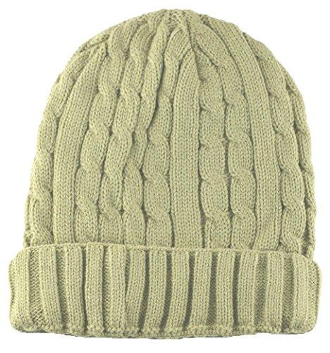 (Angela & William Cuffed Beanie Sweater Hat Thermal Insulation Khaki )