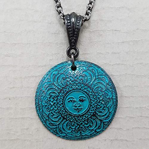 Etched Copper Mandala Sun Necklace