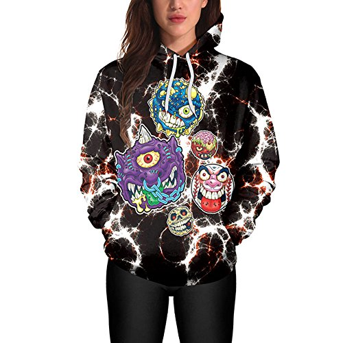 iDWZA Women Halloween Ugry Skull Print Hooded Sweatshirt Pullover Tops Hoodies(XL,Black)