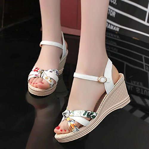 Ouneed Mujeres cuñas sandalias de verano plataforma Toe 5-8cm zapatos de tacón alto Blanco