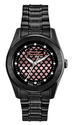 Harley-Davidson Bulova Women's Black and Rose gold Watch. 78L112