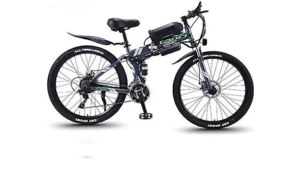 QZ Adulto Bici de montaña Plegable eléctrico, Bicicletas 350W Nieve, extraíble 36V 10AH de Litio-Ion para, Suspensión Prima Completa 26 Pulgadas Bicicleta eléctrica: Amazon.es: Deportes y aire libre