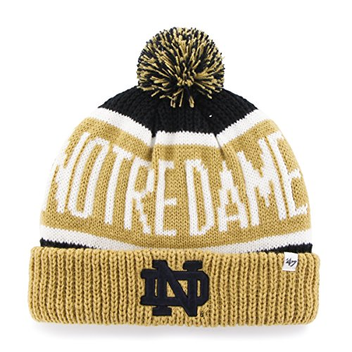 NCAA Notre Dame Fighting Irish Embroidered Jacquard Cuff Knit Hat with Pom by - Irish Calgary Shop