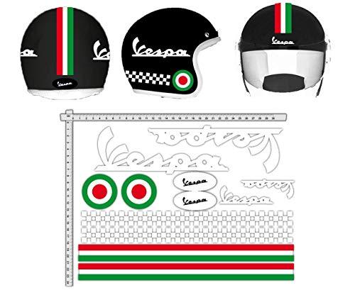 GamesMonkey Sticker helmset Vespa wit strepen Italië helm vinyl glanzend