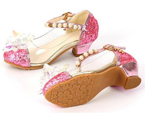 YOGLY Zapatos para Niñas Princesa Zapatos Tacones Altos Baile Zapatos de Diamantes de Imitación de Niña Rosa