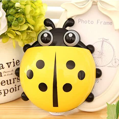 Amazon.com: Windspeed Cute Ladybug Tooth Brush Toothpaste Holder Wall Hanger with Suction Cup (Green): Home & Kitchen