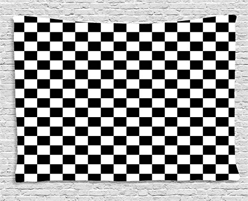 Ambesonne Checkers Game Tapestry, Geometric Grid Style Monochrome Squares in Traditional Game Board Design, Wall Hanging for Bedroom Living Room Dorm, 80 W X 60 L Inches, Black ()