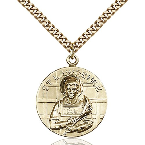 Gold Filled St. Lawrence Pendant 1 x 7/8 inches with Heavy Curb Chain by Bonyak Jewelry Saint Medal Collection