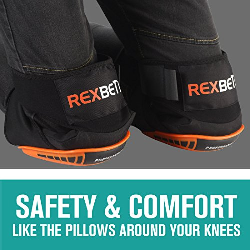 Knee Pads for Work, Construction Gel Knee Pads Tools by REXBETI, Heavy Duty Comfortable Anti-slip Foam Knee Pads for Cleaning Flooring and Garden, Strong Stretchable Double Straps - Orange, 1 Pair by REXBETI (Image #3)