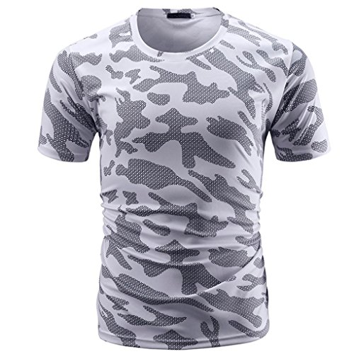 (Camo Tee, Men's Casual Classic Slim Fit Pullover Casual Camo Print Round Neck T-Shirt Short Sleeve Top Shirt (White, L))
