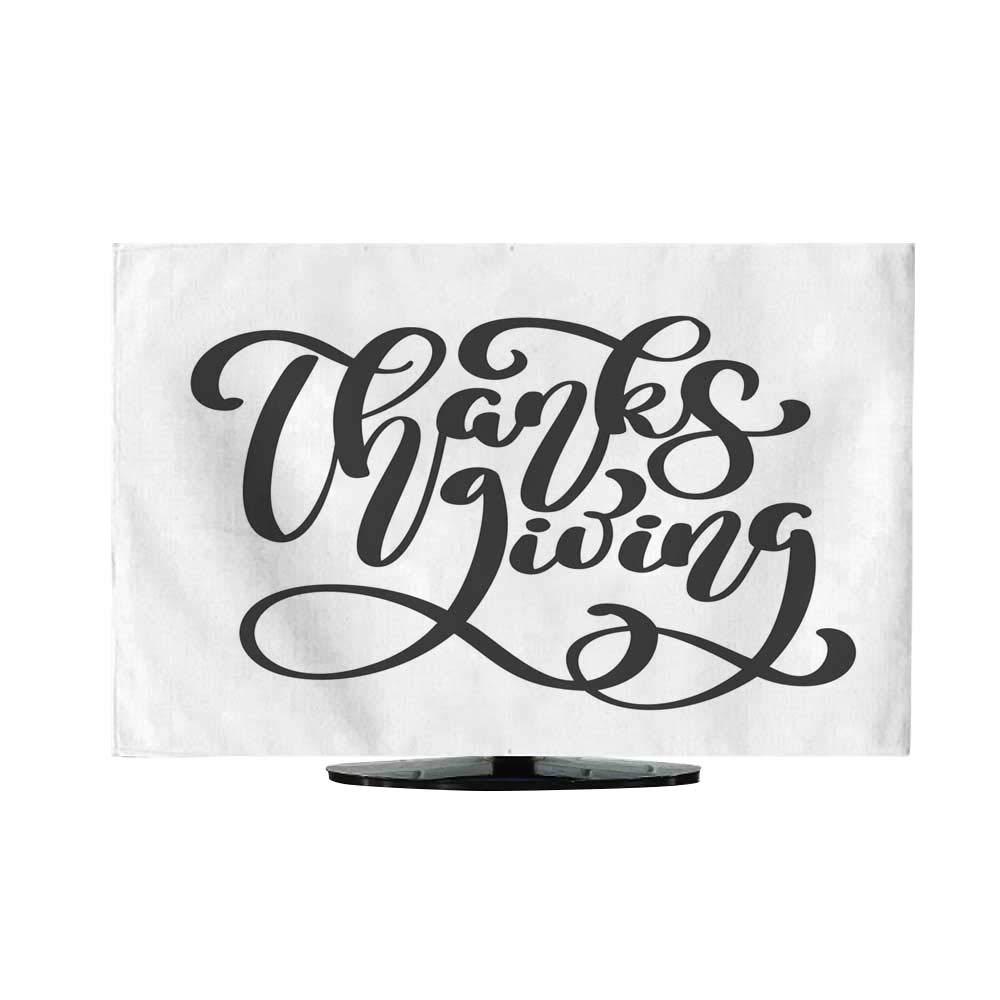 テレビ防塵布 ハッピーサンクスギビング 太字テキスト ダークマルーン背景に葉のイラスト付き L50