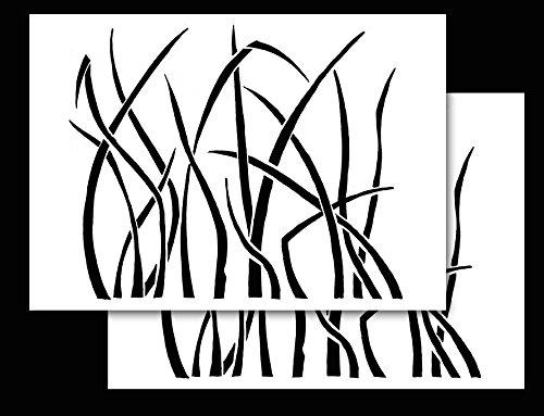 "Acid Tactical 2 Pack - 9x14"" Camouflage Design Airbrush Spray Paint Stencils - Duracoat Gun Duck Boat Camo (Select Design) (Grasslands)"