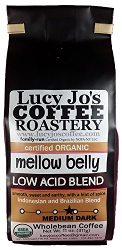 Lucy Jo's Coffee, Organic Good-natured Belly Low Acid Blend, Whole Bean, 11 oz