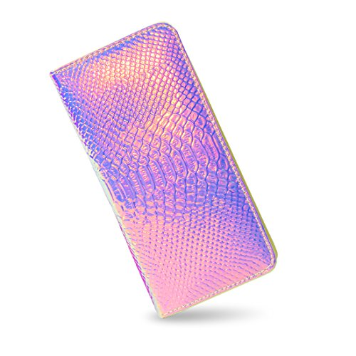 Holographic Wallet Clutch - Iridescent Purse Long Wallet with Zipper for Women (Rosy)